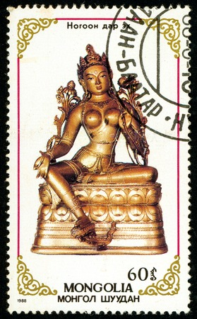Ukraine - circa 2017: A postage stamp printed in Mongolia shows drawing Buddhist statue. Series: Buddhist God Figures. Circa 1988. Editorial