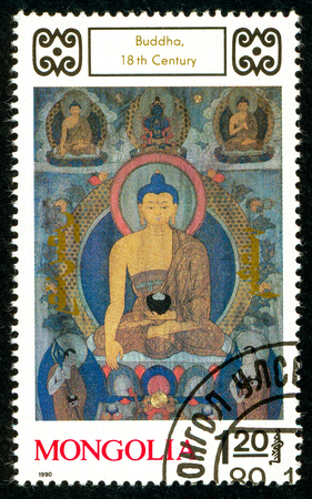 Ukraine - circa 2018: A postage stamp printed in Mongolia shows drawing Buddha. Series: Buddhist Deities. 18th-20th Cent. Paintings. Circa 1990. Sajtókép