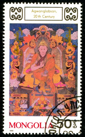 Ukraine - circa 2018: A postage stamp printed in Mongolia shows drawing Agwanglobsan. Series: Buddhist Deities. 18th-20th Cent. Paintings. Circa 1990. Sajtókép