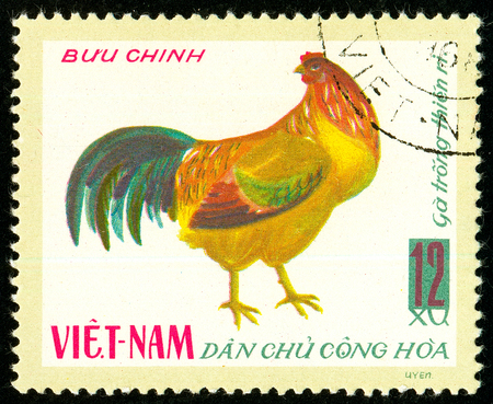 Ukraine - circa 2018: A postage stamp printed in Vietnam shows drawing Hen Bantam Chicken - Gallus gallus domesticus. Series: Domestic fowl. Circa 1968. Sajtókép