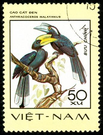 Ukraine - circa 2018: A postage stamp printed in Vietnam shows drawing bird Black Hornbill - Anthracoceros malayanus. Series: Birds. Circa 1977.