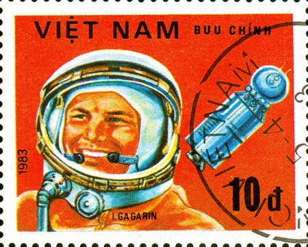 Ukraine - circa 2018: A postage stamp printed in Vietnam shows Portrait of the first cosmonaut of the Earth Yuri Gagarin in a spacesuit. Series: Cosmonauts. Circa 1983.