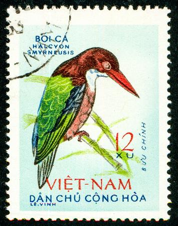 Ukraine - circa 2018: A postage stamp printed in Vietnam shows bird White-throated Kingfisher or Halcyon smyrnensis. Series: Birds. Circa 1963.