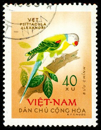 Ukraine - vers 2018: Un timbre imprimé au Vietnam montre une perruche à tête d'oiseau ou Psittacula roseata. Série: Birds. Circa 1963.