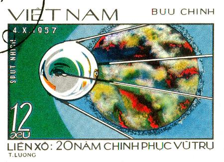 Ukraine - circa 2018: A postage stamp printed in Vietnam shows Sputnik. Series: 20th Years of space exploration. Circa 1978.