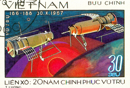 Ukraine - circa 2018: A postage stamp printed in Vietnam shows Satellites Kosmos-186 and Kosmos-188 Docking. Series: 20 Years of Space Exploration. Circa 1978. Sajtókép