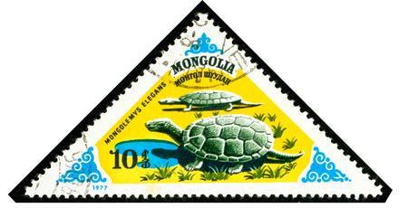 Ukraine - circa 2018: A postage stamp printed in Mongolia shows Prehistoric turtle or Mongolemys elegans. Series: Prehistoric Animals. Circa 1977.