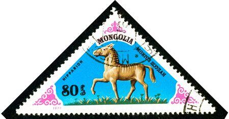 Ukraine - circa 2018: A postage stamp printed in Mongolia shows Extinct specie of horse Hipparion. Series: Prehistoric Animals. Circa 1977.