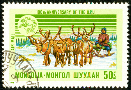 Ukraine - circa 2018: A postage stamp printed in Mongolia shows Post-yield. The postman on the reindeer sleds carries mail. Series: U.P.U. Universal Postal Union, Centenary. Circa 1974.