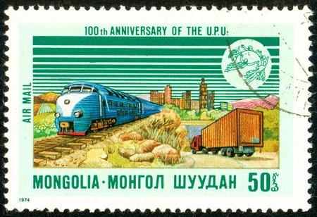 Ukraine - circa 2018: A postage stamp printed in Mongolia shows Railroad Truck. Series: U.P.U. Universal Postal Union, Centenary. Circa 1974. Éditoriale