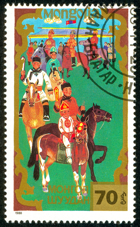 Ukraine - circa 2018: A postage stamp printed in Mongolia shows Horsemanship, Traditional Mongolian sport. Series: Sports. Circa 1988