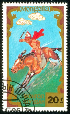 Ukraine - circa 2018: A postage stamp printed in Mongolia shows Horseman, Traditional Mongolian sport. Series: Sports. Circa 1988.
