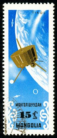 Ukraine - circa 2018: A postage stamp printed in Mongolia show Weather satellite Tiros 1963. Series: Exploration of the universe. Circa 1964.