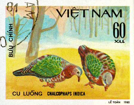 Ukraine - circa 2018: A postage stamp printed in Vietnam show Common Emerald Dove or Chalcophaps indica. Series: Doves. Circa 1980. Éditoriale