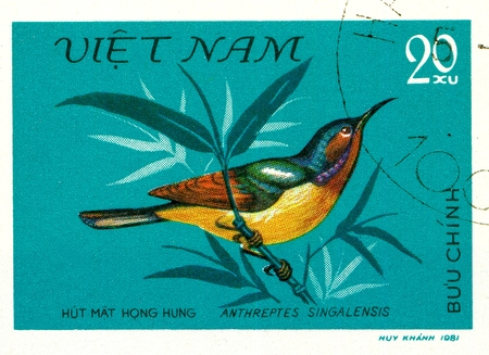 Ukraine - circa 2018: A postage stamp printed in Vietnam show Ruby-cheeked Sunbird or Chalcoparia singalensis. Series: Birds. Circa 1981 Éditoriale