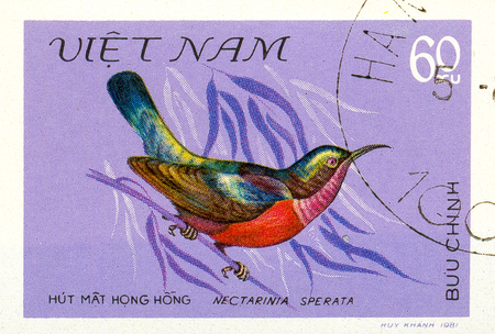 Ukraine - circa 2018: A postage stamp printed in Vietnam show bird Purple-throated Sunbird or Leptocoma sperata. Series: Birds. Circa 1981.