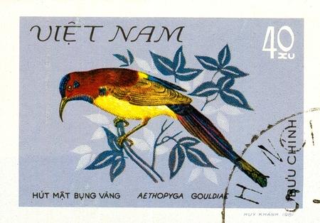 Ukraine - circa 2018: A postage stamp printed in Vietnam show bird Goulds Sunbird or Aethopyga gouldiae. Series: Birds. Circa 1981.