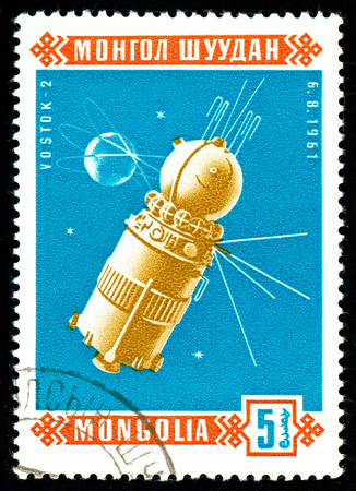 Ukraine - circa 2018: A postage stamp printed in Mongolia show Sputnik Wostok 2. Series: Space satellites. Circa 1966.