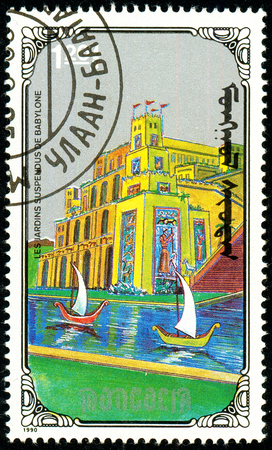 Ukraine - circa 2018: A postage stamp printed in Mongolia show Hanging Gardens of Babylon. Series: 7 Wonders of the Ancient World. Circa 1990 Sajtókép