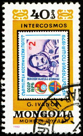Ukraine - circa 2018: A postage stamp printed in Mongolia show cosmonaut Georgi Ivanov. Series: Intercosmos, Space Programme. Circa 1980.