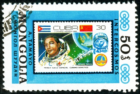 Ukraine - circa 2018: A postage stamp printed in Mongolia show Copy of Cuban stamp about space. Series: Interkosmos program. Circa 1981. Editorial