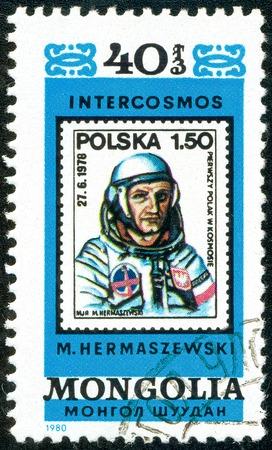 Ukraine - circa 2018: A postage stamp printed in Mongolia show cosmonaut Miroslaw Hermaszewski. Series: Intercosmos, Space Programme. Circa 1980.