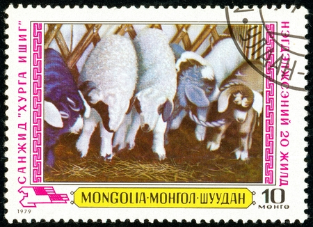 Ukraine - circa 2018: A postage stamp printed in Mongolia show Sheeps. Series: Mongolian Painters - Agriculture. Circa 1979.