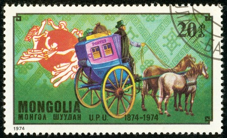 Ukraine - circa 2018: A postage stamp printed in Mongolia show French post coach. Series: U.P.U. Universal Postal Union, Centenary. Circa 1974. Banque d'images - 94168041
