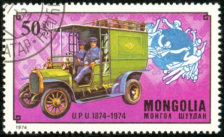 Ukraine - circa 2018: A postage stamp printed in Mongolia show German post car. Series: U.P.U. Universal Postal Union, Centenary. Circa 1974.