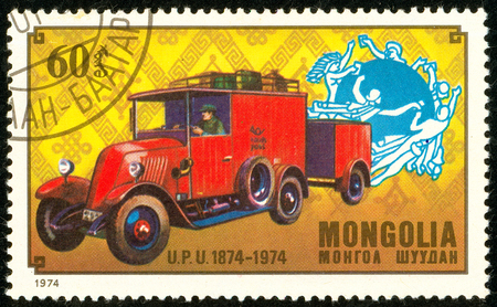 Ukraine - circa 2018: A postage stamp printed in Mongolia show English post car. Series: U.P.U. Universal Postal Union, Centenary. Circa 1974