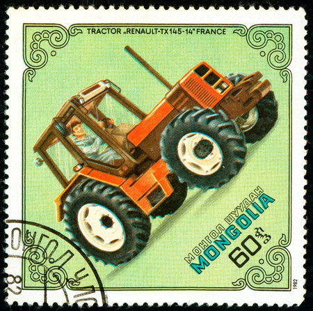 Ukraine - circa 2018: A postage stamp printed in Mongolia show Tractor Renault TX-145-14, France. Series: Tractors. Circa 1982