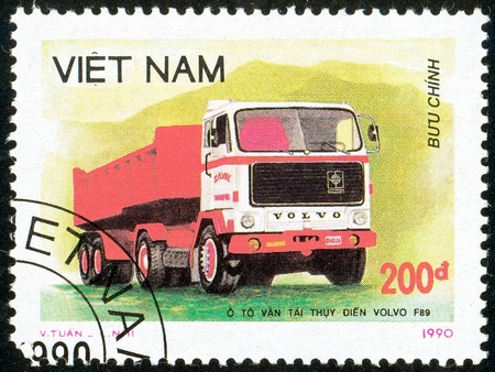 Illustrative editorial. Ukraine - circa 2018: A postage stamp printed in Vietnam show Truck Volvo F89. Circa 1990. Editorial
