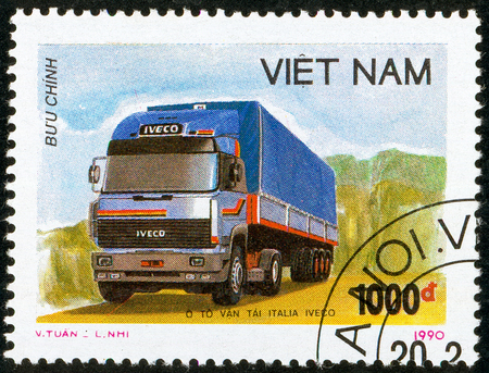 Illustrative editorial. Ukraine - circa 2018: A postage stamp printed in Vietnam show Truck tractor Iveco. Circa 1990. Editorial