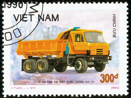 Illustrative editorial. Ukraine - circa 2018: A postage stamp printed in Vietnam show Czechoslovakian Truck Tatra 915 S1 - Tipper. Circa 1990. Editorial