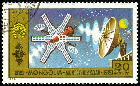 Ukraine - circa 2018: A postage stamp printed in Mongolia show Spacecraft. Series: National Achievements. Circa 1972. Sajtókép