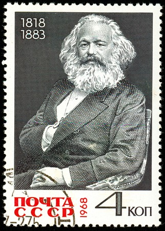 Ukraine - circa 2018: A postage stamp printed in USSR show Karl Heinrich Marx is a German philosopher, sociologist, economist, writer, poet, political journalist, public figure. Circa 1968.