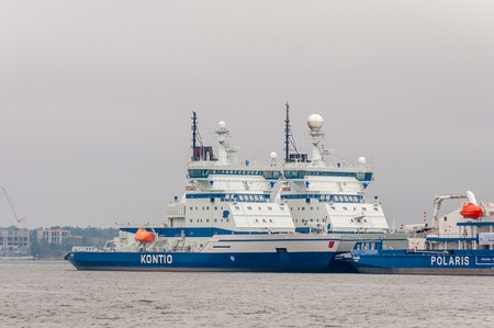Helsinki, Finland - 4 Sept. 2018: Finnish icebreakers Polaris and Kontio. Polaris is the most environmentally friendly diesel-electric icebreaker in the world, a masterpiece shipbuilding expertise