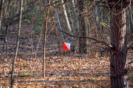 Orienteering. Check point Prism for orienteering. Navigation equipment. The concept