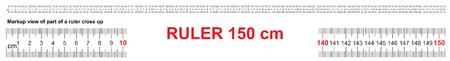 Ruler 150 cm. Precise measuring tool. Ruler scale 1,5 meter. Ruler grid 1500 mm. Metric centimeter size indicators Vektoros illusztráció