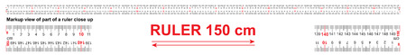 Bidirectional ruler 150 cm or 1500 mm. Used in construction, engineering, clothing manufacturing, carpentry Illustration