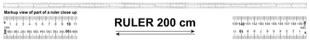 Bidirectional ruler 200 cm or 2000 mm. Used in construction, engineering, clothing manufacturing, carpentry