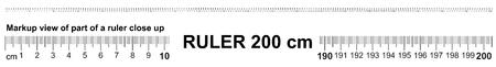Ruler 200 cm. Precise measuring tool. Ruler scale 2.0 meter. Ruler grid 2000 mm. Metric centimeter size indicators Illustration
