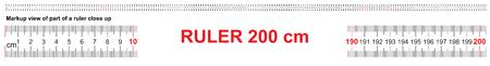 Ruler 200 cm. Precise measuring tool. Ruler scale 2,0 meter. Ruler grid 2000 mm. Metric centimeter size indicators.
