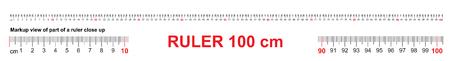 Ruler 100 cm. Precise measuring tool. Ruler scale 1 meter. Ruler grid 1000 mm. Metric centimeter size indicators