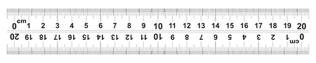 Ruler 20 centimeter. Ruler 200 mm. The direction of marking on the ruler from left to right and right to left. Value of division 0.5 mm. Precise length measurement device. Calibration grid.