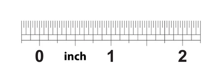 2 inch ruler. The price of division - 32 divisions by inch. Exact length measurement device. Calibration grid