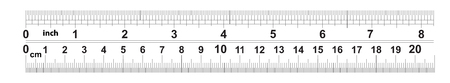 Ruler 8 inshes. Ruler 20 centimeters. Value of division - 32 divisions by inch and 0.5 mm. Precise length measurement device. Calibration grid.