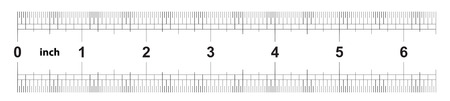 Ruler 6 inches imperial. Ruler double sided. Precise measuring tool. Calibration grid Illustration