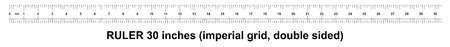 Ruler 30 inches imperial. Ruler double sided. Precise measuring tool. Calibration grid Illustration
