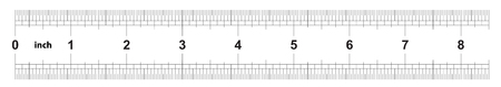 Ruler 8 inches imperial. Ruler double sided. Precise measuring tool. Calibration grid